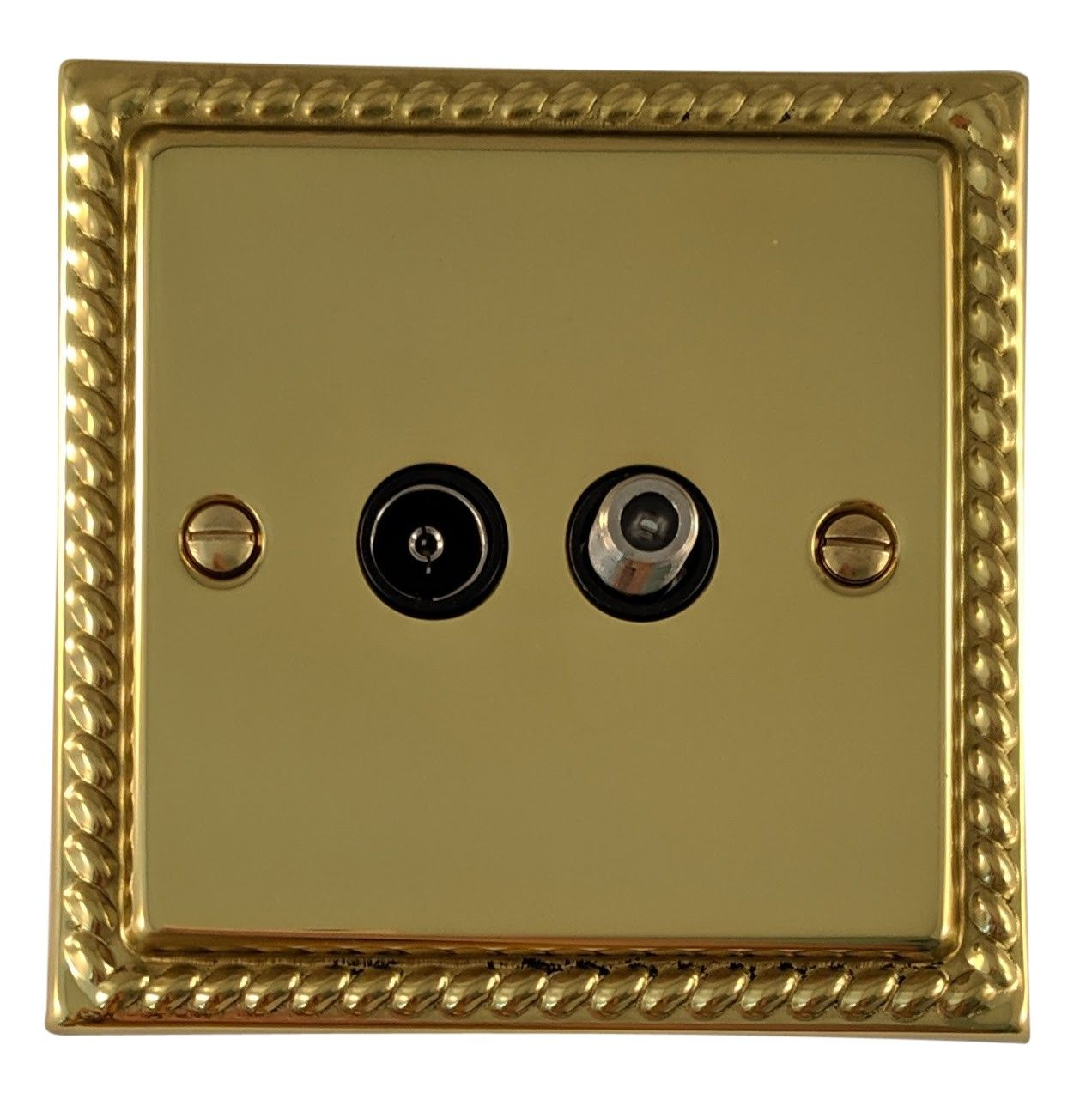 G&H MB38B Monarch Roped Polished Brass 1 Gang TV Coax & Satellite Socket Point
