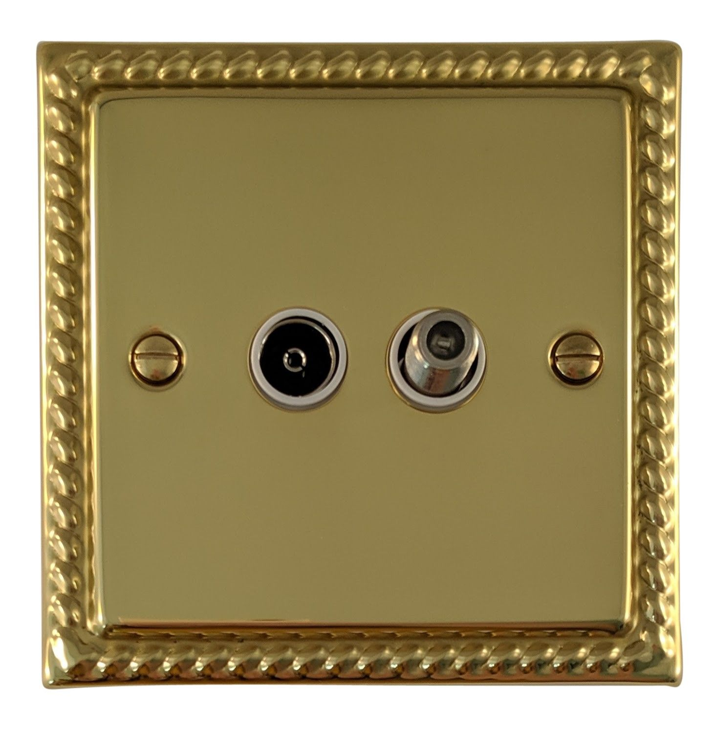 G&H MB38W Monarch Roped Polished Brass 1 Gang TV Coax & Satellite Socket Point