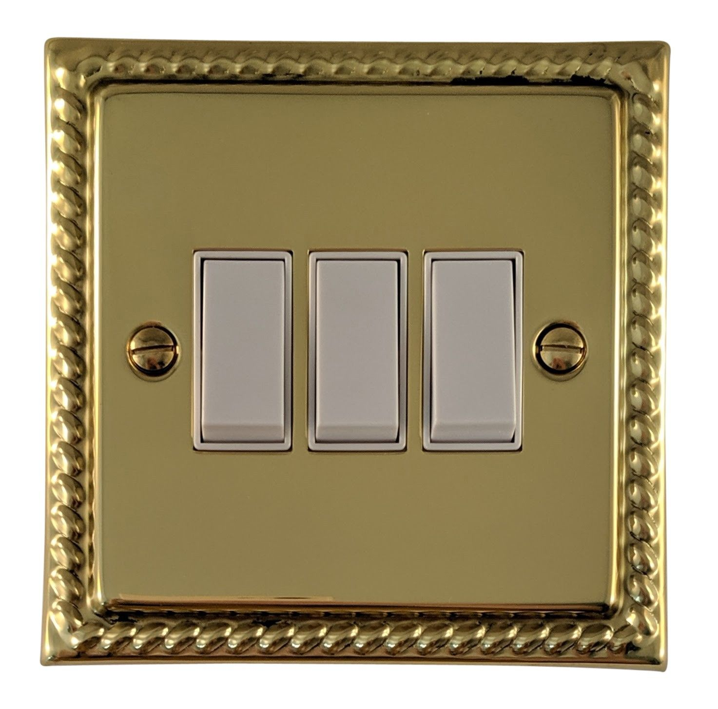 G&H MB3W Monarch Roped Polished Brass 3 Gang 1 or 2 Way Rocker Light Switch