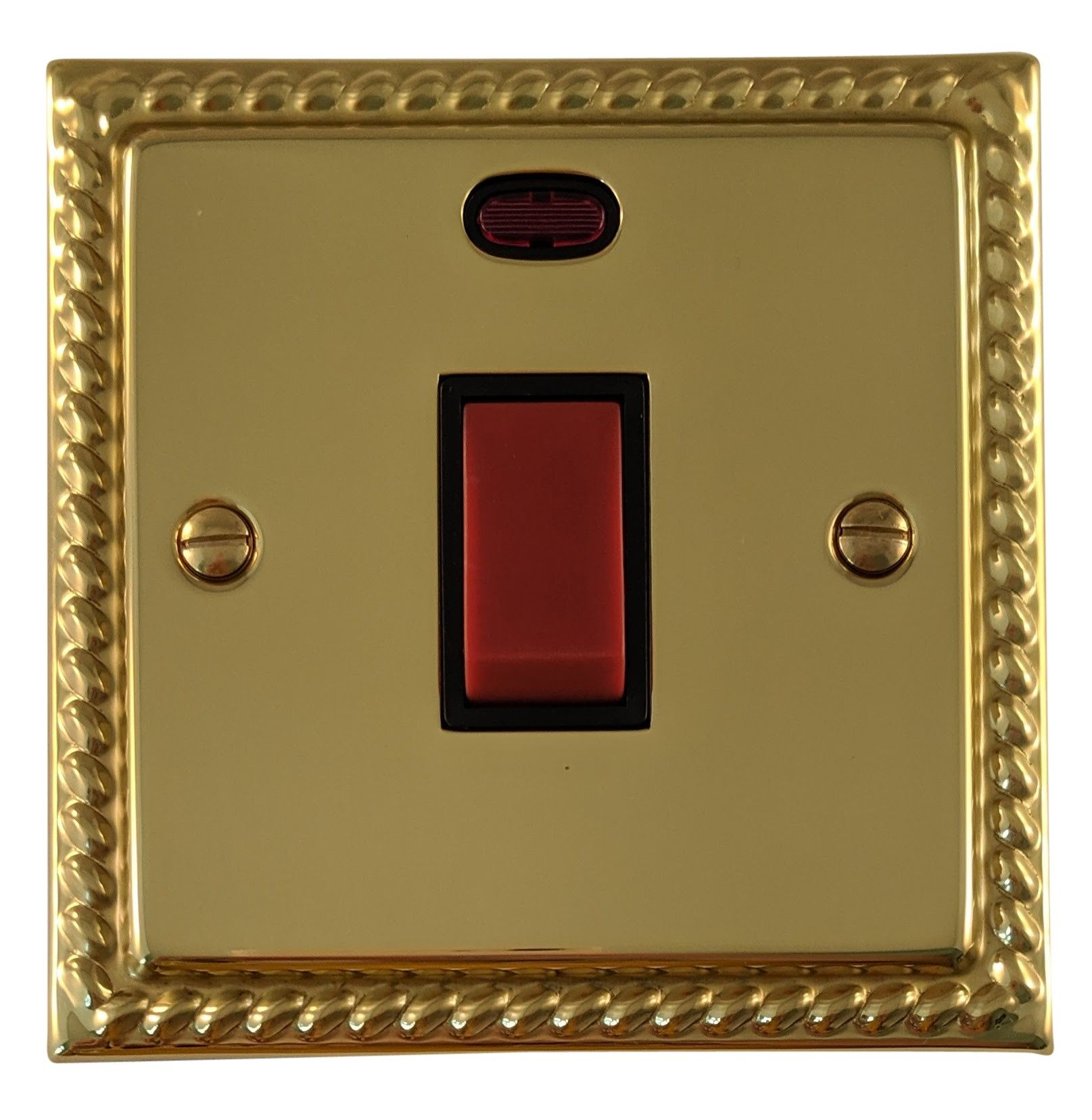 G&H MB46B Monarch Roped Polished Brass 45 Amp DP Cooker Switch & Neon Single Plate