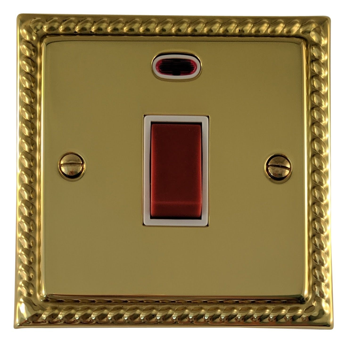 G&H MB46W Monarch Roped Polished Brass 45 Amp DP Cooker Switch & Neon Single Plate