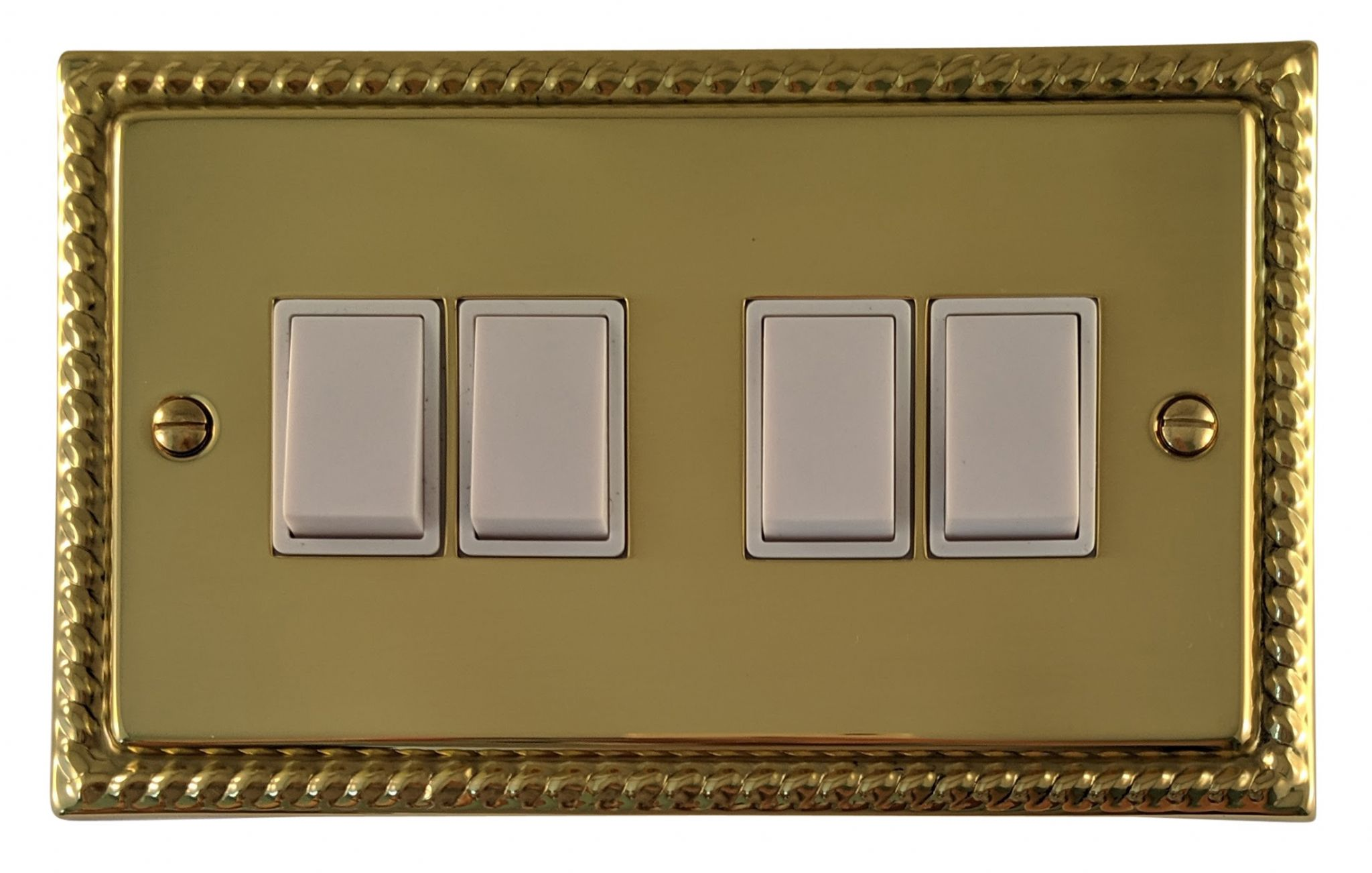 G&H MB4W Monarch Roped Polished Brass 4 Gang 1 or 2 Way Rocker Light Switch