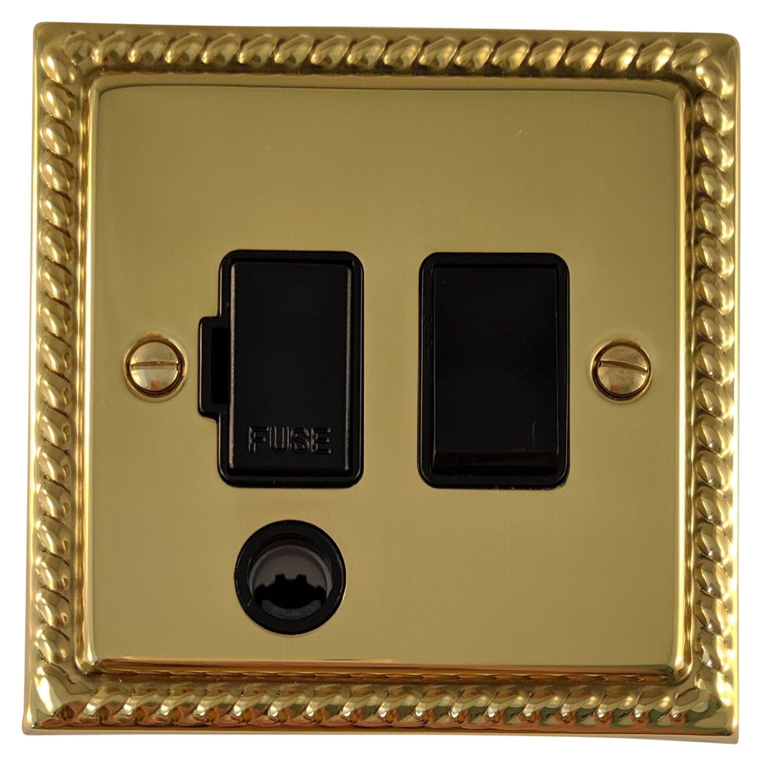 G&H MB56B Monarch Roped Polished Brass 1 Gang Fused Spur 13A Switched & Flex Outlet