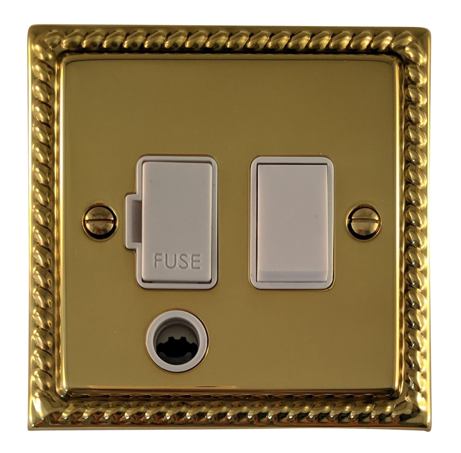 G&H MB56W Monarch Roped Polished Brass 1 Gang Fused Spur 13A Switched & Flex Outlet