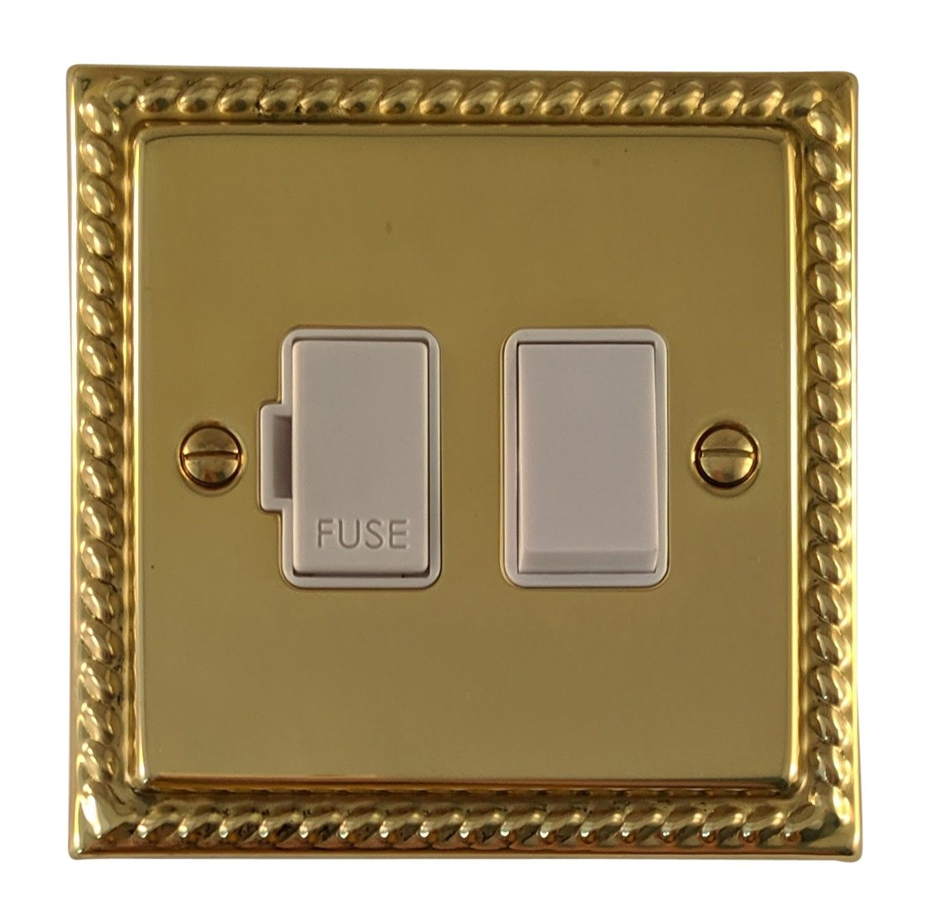 G&H MB57W Monarch Roped Polished Brass 1 Gang Fused Spur 13A Switched