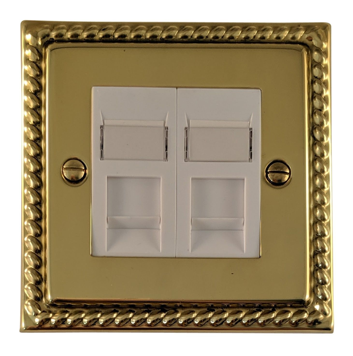 G&H MB63W Monarch Roped Polished Brass 2 Gang Master BT Telephone Socket