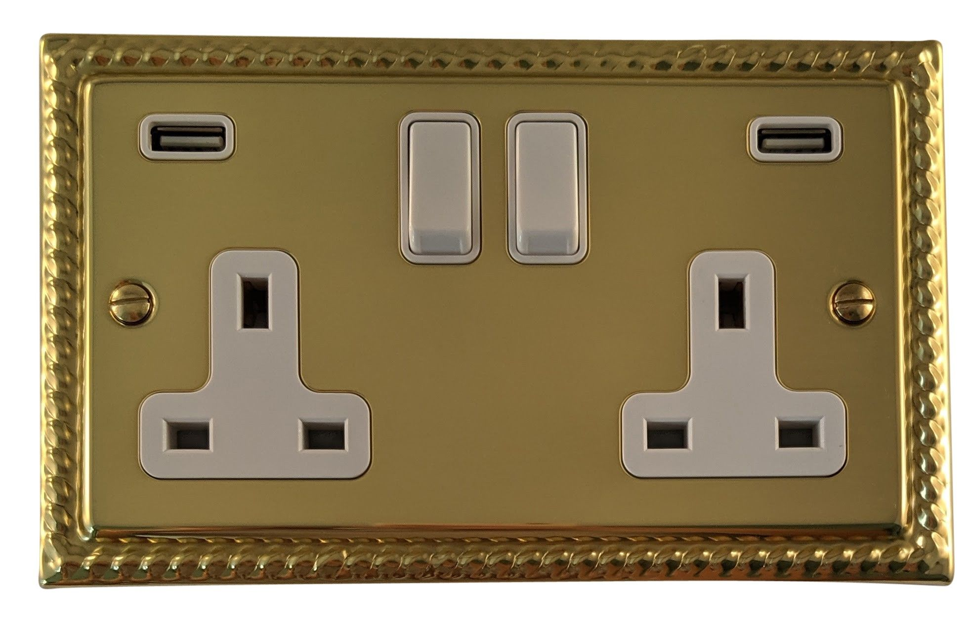 G&H MB910W Monarch Roped Polished Brass 2 Gang Double 13A Switched Plug Socket 2.1A USB