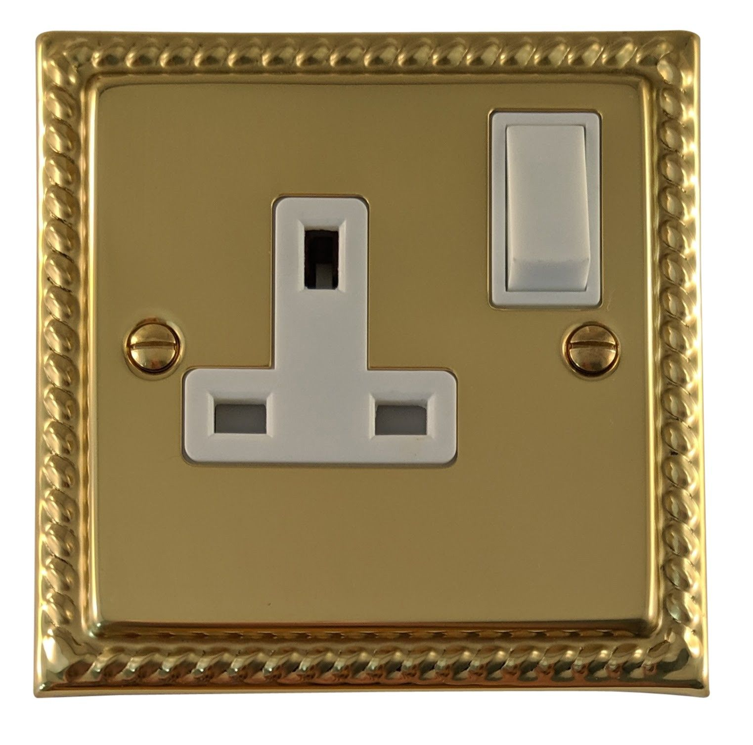 G&H MB9W Monarch Roped Polished Brass 1 Gang Single 13A Switched Plug Socket